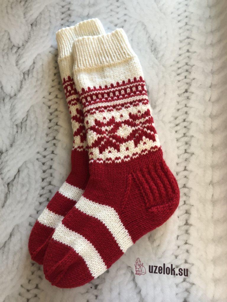 Носки новогодние спицами