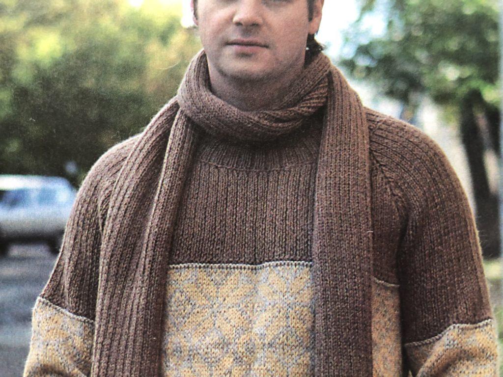 Мужской свитер жаккард спицами