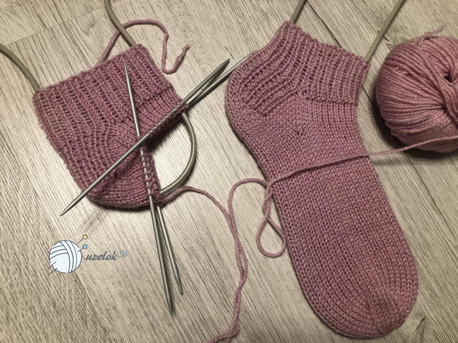 Короткие носки спицами