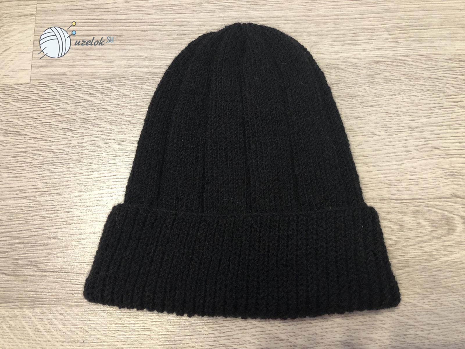 16-2 Простая мужская шапка спицами, схема мужской шапки спицами, пошаговое описание с фото. Мужская шапка спицами для начинающих