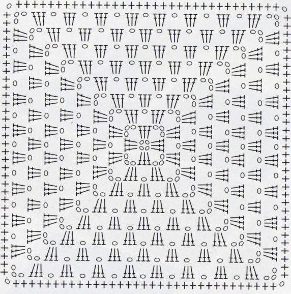 Схема вязания квадрата крючком