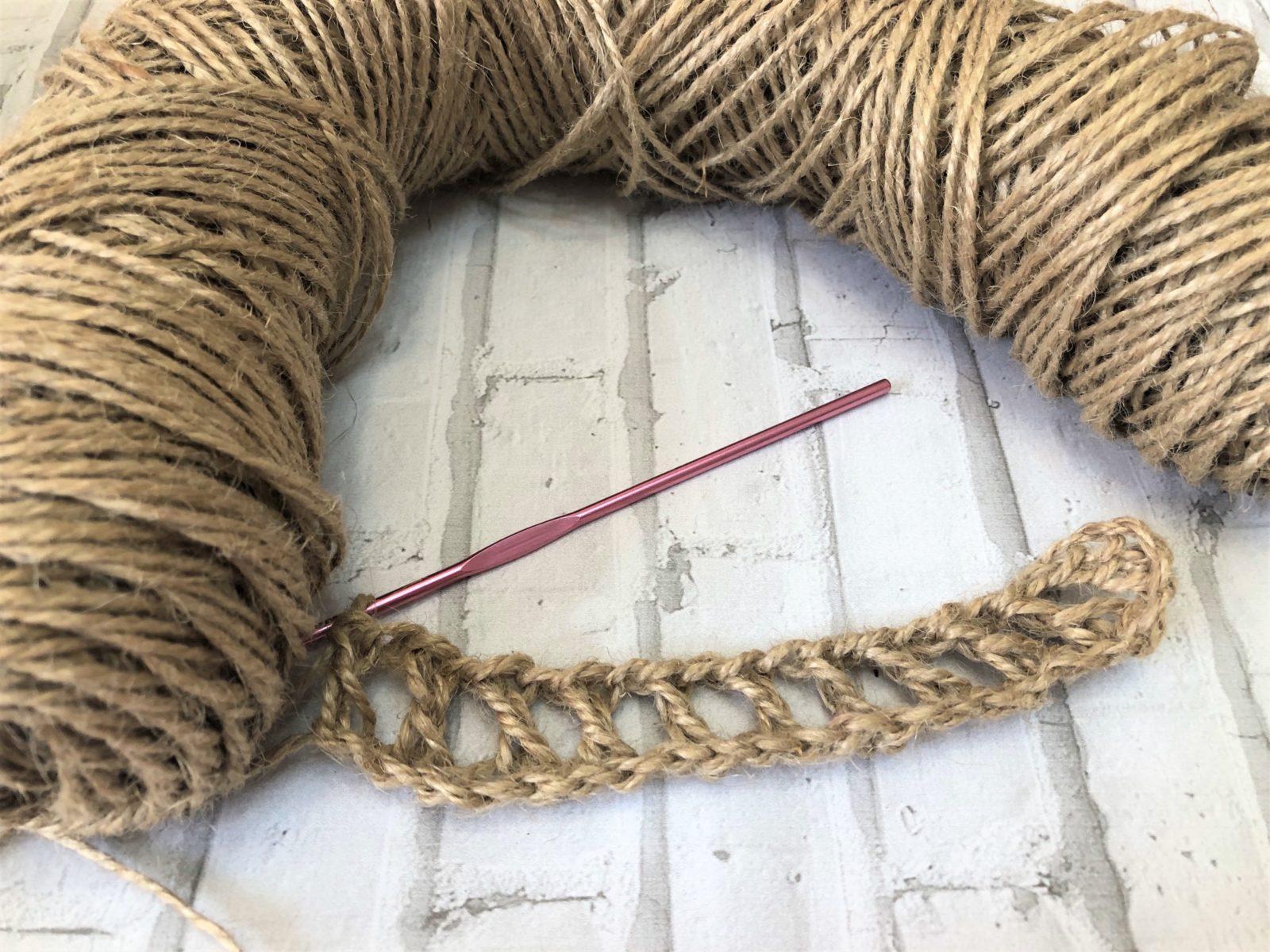 1 ряд вязания мочалки