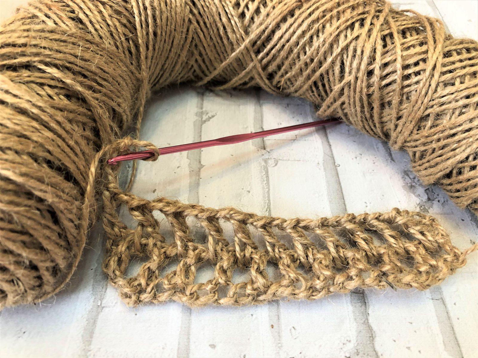 2 ряд вязания мочалки